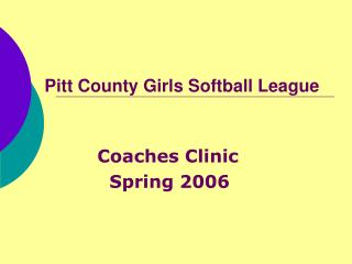 Pitt County Girls Softball League