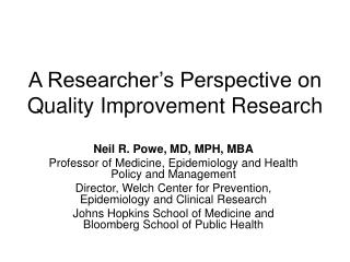 A Researcher's Perspective on Quality Improvement Research