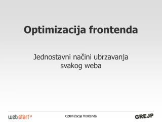 Optimizacija frontenda