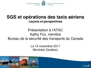 SGS et op�rations des taxis a�riens Le�ons et perspectives