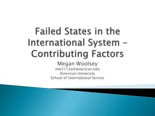Failed States in the International System – Contributing Factors