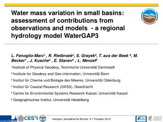 STREMP/DFG Project Results : Estimation of water mass changes  Model improvement and coupling