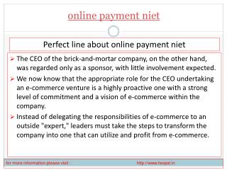 View about online payment niet