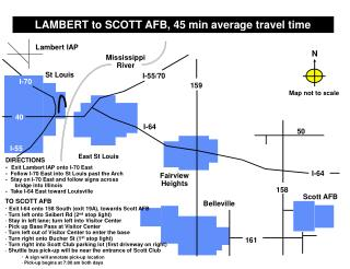 LAMBERT to SCOTT AFB, 45 min average travel time