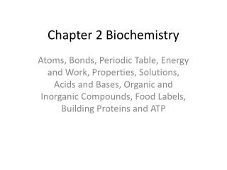 Chapter 2 Biochemistry
