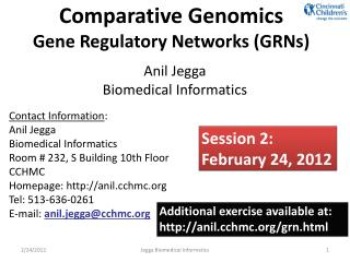 Comparative Genomics Gene Regulatory Networks (GRNs)