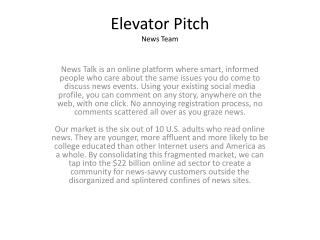 Elevator Pitch  News Team