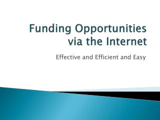 Funding Opportunities via the Internet