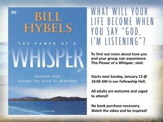 Starts next Sunday, January 13 @ 10:00 AM in our Fellowship Hall.