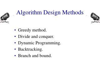 Algorithm Design Methods
