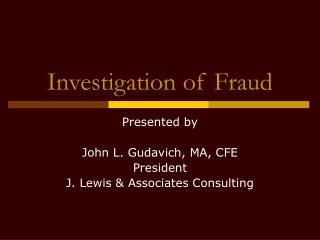 Investigation of Fraud