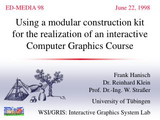Using a modular construction kit for the realization of an interactive  Computer Graphics Course