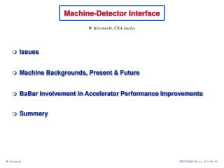 Machine-Detector Interface