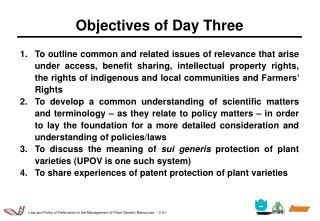Objectives of Day Three