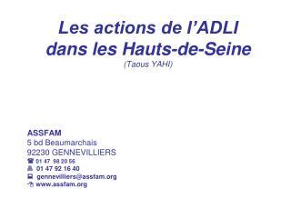 Les actions de l'ADLI dans les Hauts-de-Seine (Taous YAHI)