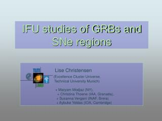 IFU studies of GRBs and SNe regions
