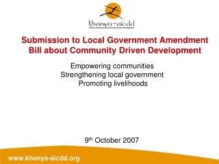 Submission to Local Government Amendment Bill about Community Driven Development