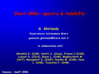 Short GRBs: spectra & redshifts