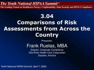 3.04  Comparisons of Risk Assessments from Across the Country