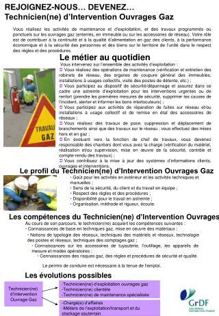 REJOIGNEZ-NOUS… DEVENEZ… Technicien(ne) d'Intervention Ouvrages Gaz