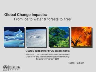 GEOSS support for IPCC assessments SESSION 1:  DATA USERS AND DATA PROVIDERS