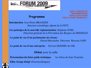 Introduction : Jean-Pierre BRAZZINI  directeur scientifique adjoint de la FSTT