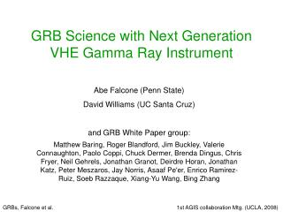 GRB Science with Next Generation VHE Gamma Ray Instrument