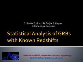 Statistical Analysis of GRBs with Known  Redshifts