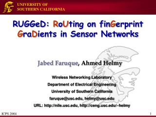 RUGGeD: RoUting on finGerprint GraDients in Sensor Networks