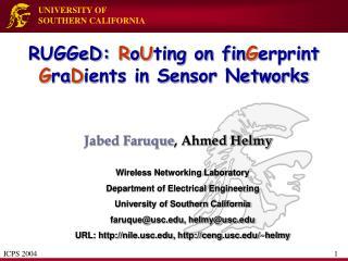 RUGGeD: RoUting on finGerprint GraDients in Sensor Networks