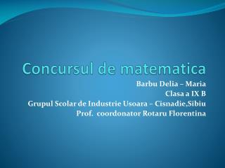 Concursul de matematica