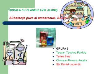 ȘCOALA CU CLASELE I-VIII, ALUNIȘ Substanțe pure și amestecuri. Soluții