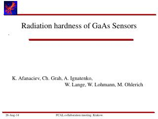Radiation hardness of GaAs Sensors