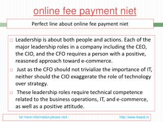 View about online fee payment niet