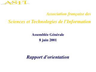 Association fran�aise des  Sciences et Technologies de l'Information