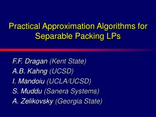 Practical Approximation Algorithms for Separable Packing LPs