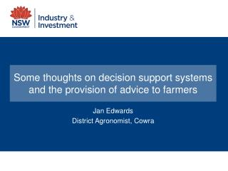 Some thoughts on decision support systems and the provision of advice to farmers