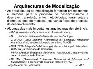 Arquitecturas de Modeliza��o