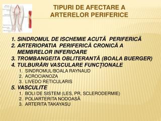 SINDROMUL DE ISCHEMIE  ACUTÃ  PERIFERICÃ ARTERIOPATIA   PERIFERICĂ CRONICĂ A MEMBRELOR INFERIOARE