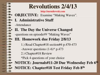 Revolutions 2/4/13 mrmilewski