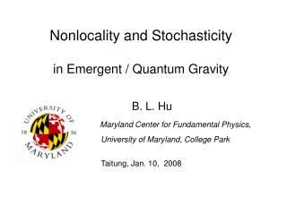 Nonlocality and Stochasticity in Emergent / Quantum Gravity