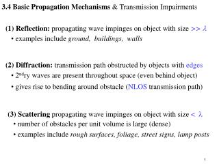 3.4 Basic Propagation Mechanisms  Transmission Impairments