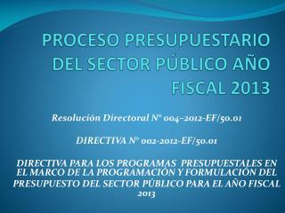 PROCESO PRESUPUESTARIO DEL SECTOR PÚBLICO AÑO  FISCAL 2013
