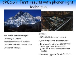 CRESST: First results with phonon light technique