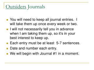 Outsiders Journals