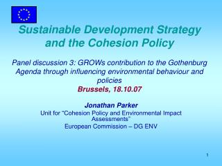 "Jonathan Parker  Unit for ""Cohesion Policy and Environmental Impact Assessments"""
