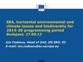 Ion Codescu, Head of Unit, DG ENV, EC E-mail: ion.codescu@ec.europa.eu
