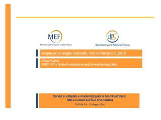 Piero Rubino MEF/ DPS / Unità di valutazione degli investimenti pubblici