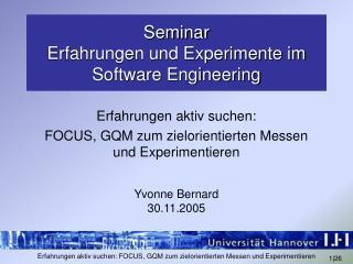 Seminar  Erfahrungen und Experimente im Software Engineering