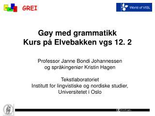 Gøy med grammatikk  Kurs på Elvebakken vgs 12. 2